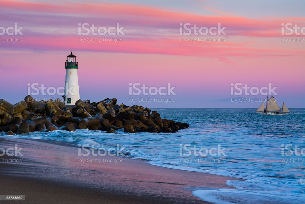 Santa Cruz Breakwater Lighthouse stock photo