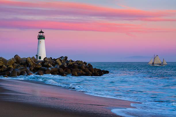 Santa Cruz Breakwater Lighthouse stock photo