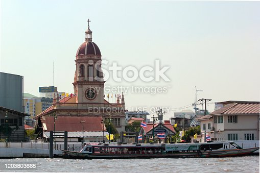Bangkok, Thailand - December 14, 2019: Santa Cruz Church, or Kudi Chin, in the Thon Buri District on the west bank of Chao Phraya River.