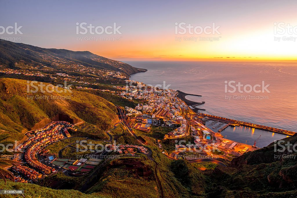 Santa Cruz city on La Palma island stock photo