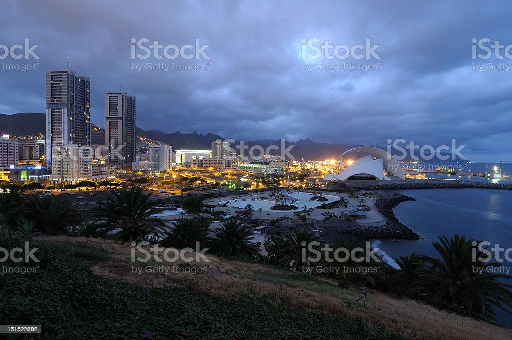 Santa Cruz de Tenerife at dusk royalty-free stock photo