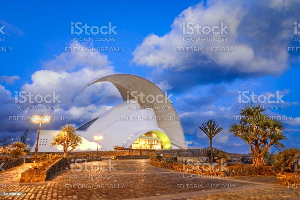 Santa Cruz de Tenerife, Canary Islands: Auditorio de Tenerife, iconic landmark - opera house of Santa Cruz de Tenerife stock photo