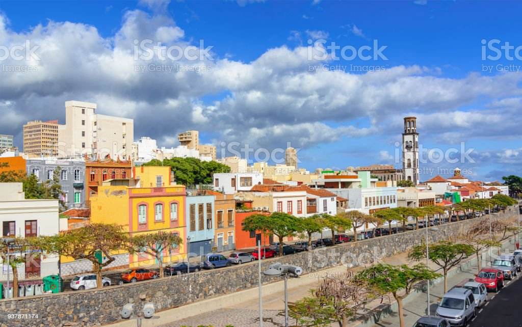 santa cruz de tenerife canary islands spain cityscape with colored houses royalty