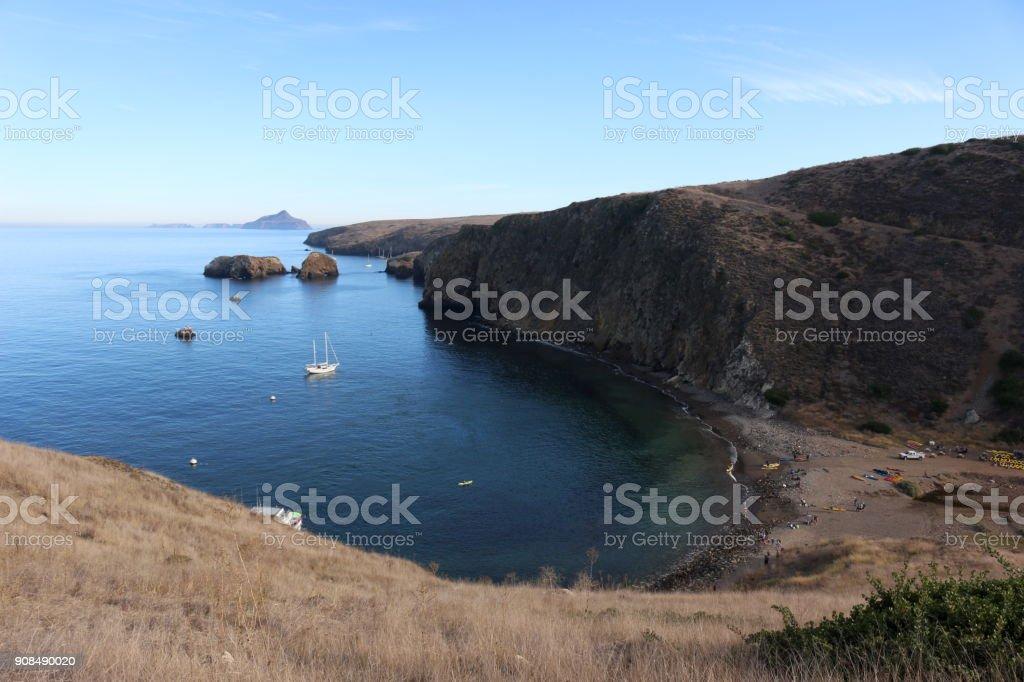 Santa Cruz Island with Anacapa in the Distance stock photo