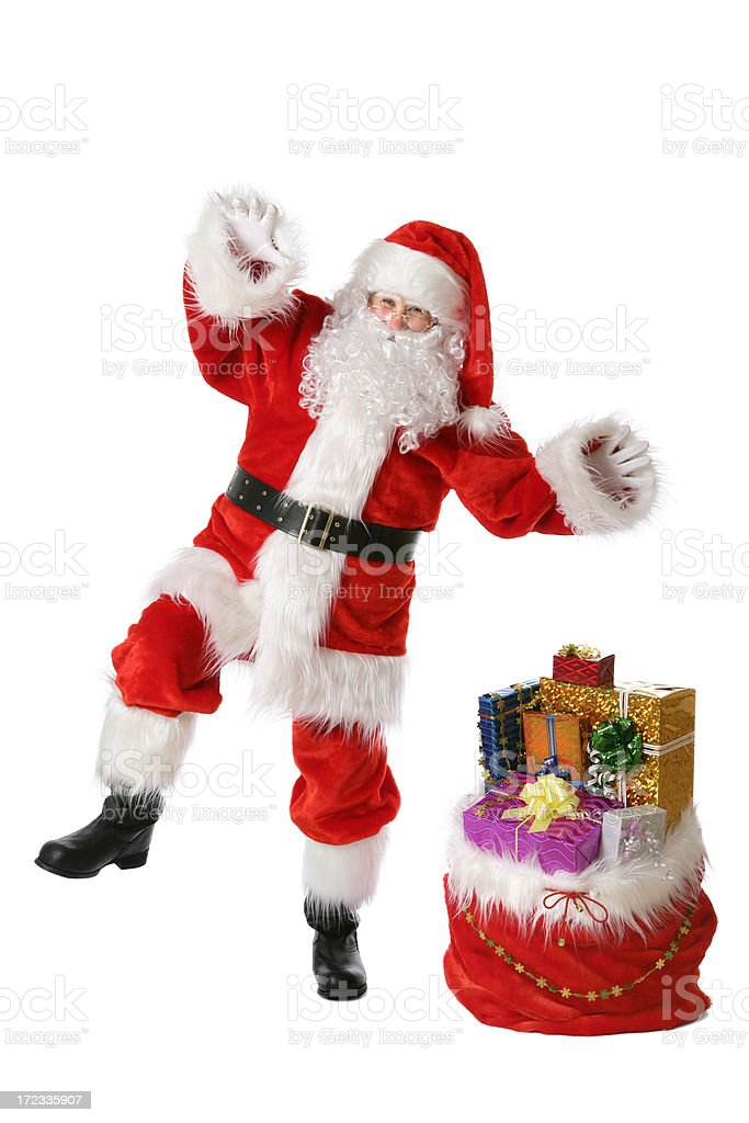 Santa dancing (on white) royalty-free stock photo