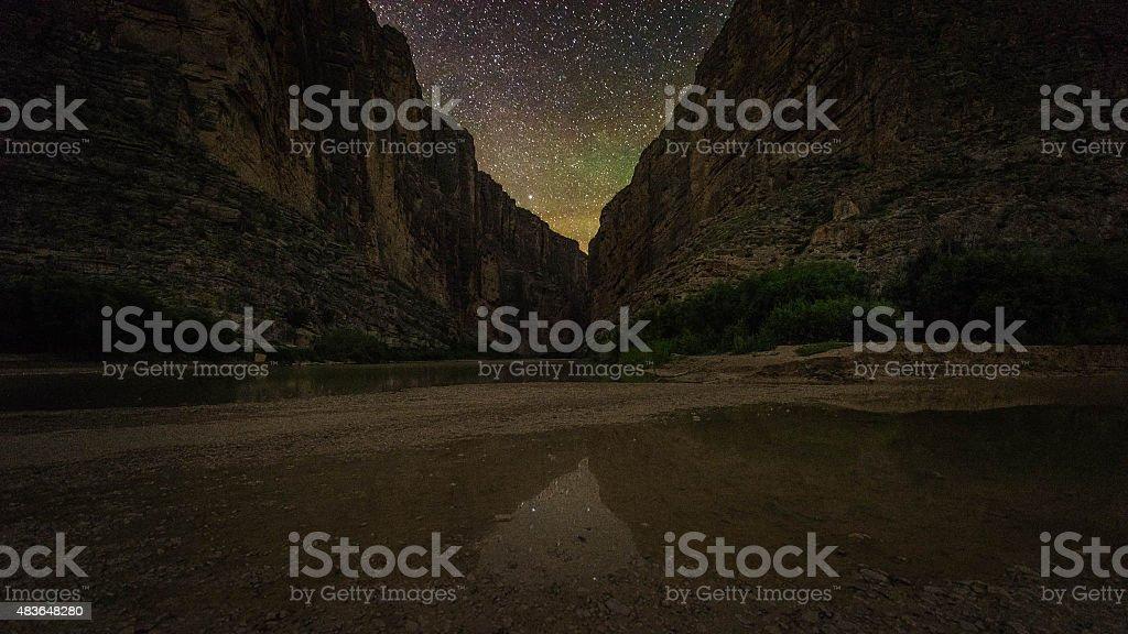 Santa Elena Canyon at Night - Big Bend Landscape stock photo