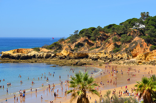 Santa Eulalia beach, Albufeira, Algarve, Portugal: view over Santa Eulalia beach, looking towards Ponta do Arco. This low cliff beach is surrounded by a pine forest, it holds the FEE blue flag.