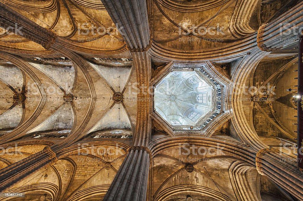 Santa Eulalia Cathedral (called Seu) interior. Barri Gotic, Barc royalty-free stock photo