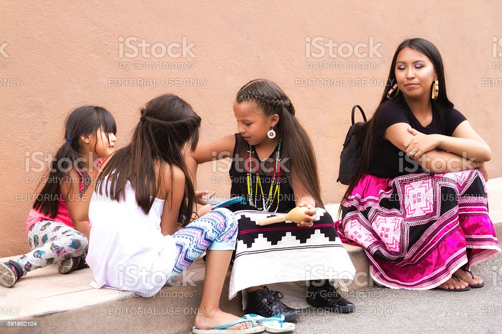 Santa Fe 2016 Indian Market: Native American Family stock photo