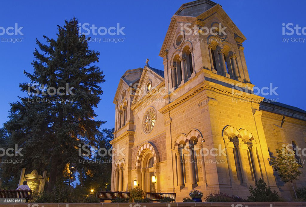 Santa Fe Architecture: Saint Francis Cathedral at Dusk stock photo