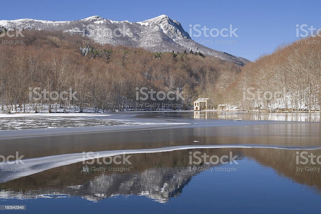 Santa Fe de Montseny The lake of Santa Fe de Montseny partially frozen in winter, Catalonia. Barcelona - Spain Stock Photo