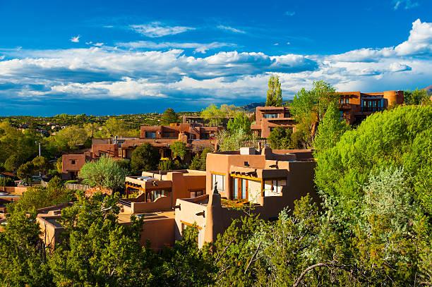 Santa Fe hillside houses stock photo