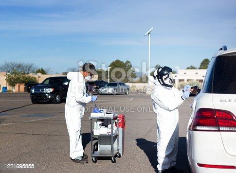 Santa Fe, NM: A temporary COVID-19 antibody testing site set up in a parking lot in Santa Fe, NM.