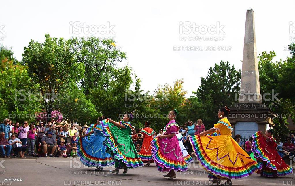Santa Fe, NM: Folk Dancers on the Historic Downtown Plaza stock photo