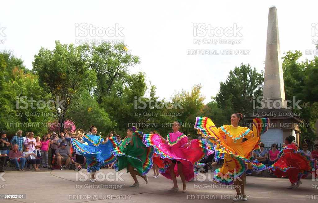 Santa Fe, NM: Folk Dancers on the Historic Downtown Plaza stock photo