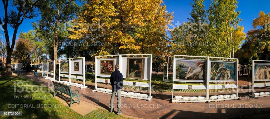 Santa Fe, NM: Outdoor Prado in Santa Fe Art Exhibit stock photo