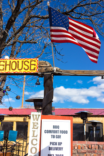 Santa Fe Nm Restaurant Offering Comfort Food To Go Us Flag Stock Photo Download Image Now Istock