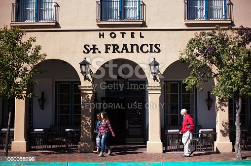 Santa Fe, NM: Tourists outside Hotel St. Francis in downtown Santa Fe, the city's oldest hotel (opened in 1924).