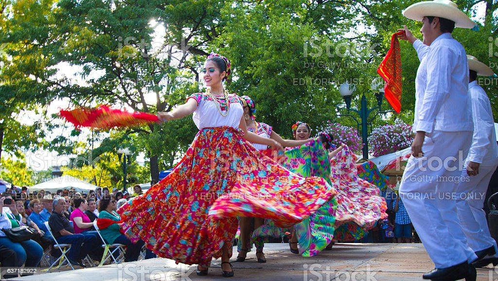 Santa Fe, NM: Troupe Performs Mexican Folk Dance on Plaza stock photo