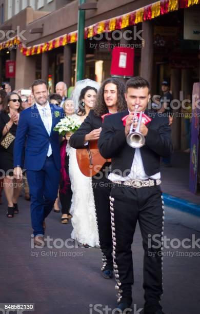 Santa Fe, NM, USA: Fiesta Wedding Parade, Santa Fe Plaza
