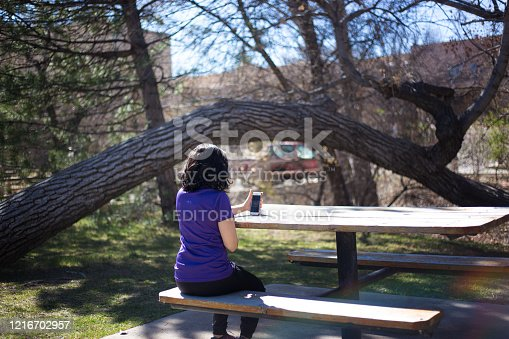 Santa Fe, NM: A young woman sits at a picnic table on a video call with her smart phone in a park in downtown Santa Fe.