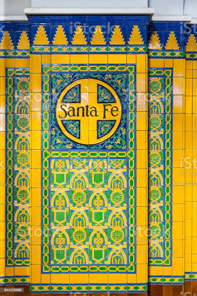 Santa Fe on tiles with decoration in union train station stock photo