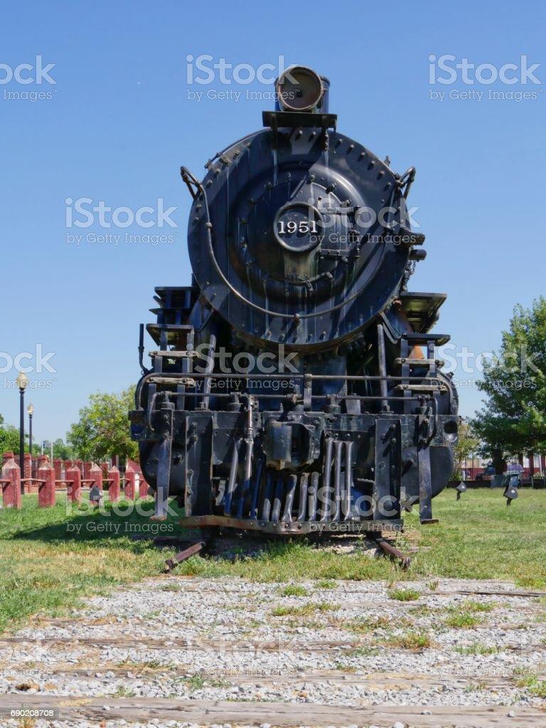 Santa Fe Railway No. 1951, Pauls Valley, Oklahoma, front view stock photo