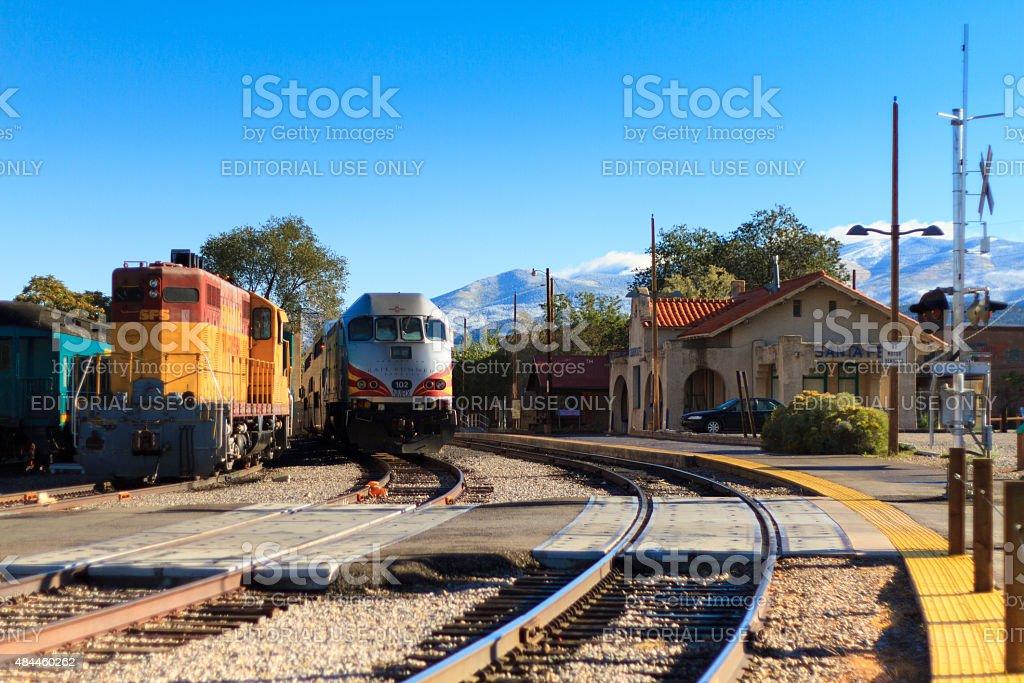 Santa Fe Railyard-Station; NM Rail Runner Express Train stock photo
