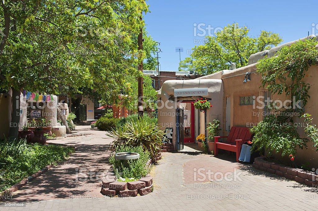 Santa Fe Style Old Town Plaza Courtyard stock photo