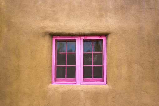 Santa Fe Style: Pink Window in Adobe Wall (Close-Up)