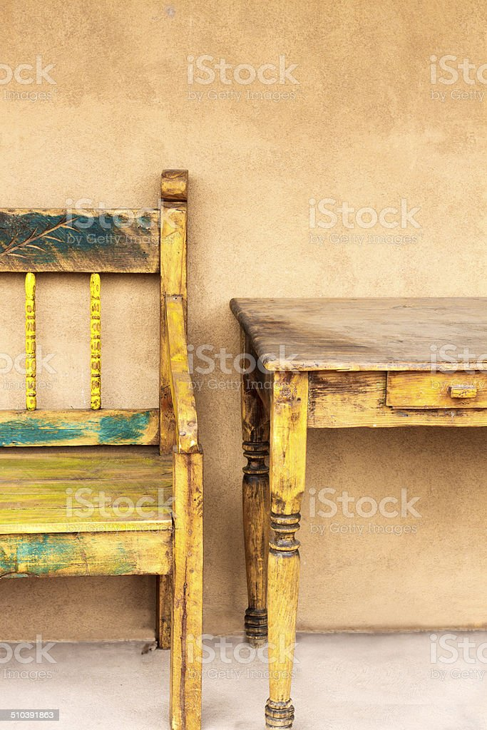 Santa Fe Style: Rustic Portal (Porch) Furniture Royalty Free Stock Photo