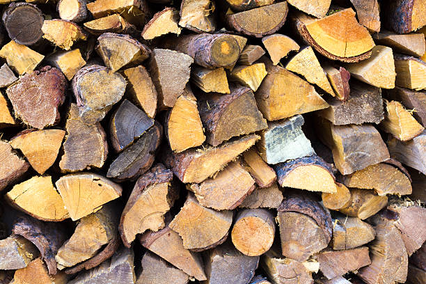 Santa Fe Style: Rustic Woodpile of Pinon (Pine) A rustic woodpile of pinon (pine) wood, full frame, in Santa Fe, NM. Pinon is the traditional wood burned in Santa Fe, NM, emitting a beautiful aroma in winter. aisne stock pictures, royalty-free photos & images