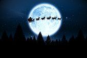 サンタの夜の空を飛ぶ