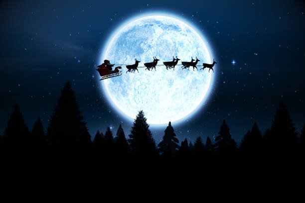 Santa flying over night sky Digitally generated Santa flying over night sky sled stock pictures, royalty-free photos & images