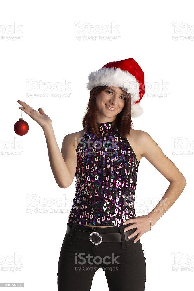 Santa girl holding Christmas ball isolated royalty-free stock photo