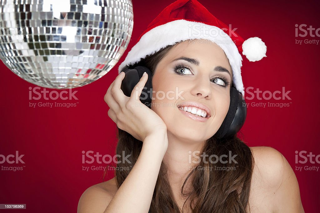 santa girl on party royalty-free stock photo