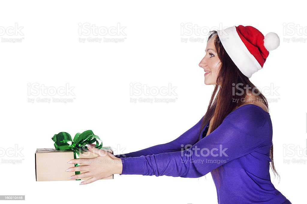 Santa girl with a present gift royalty-free stock photo