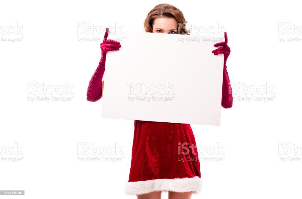 santa girl with blank board stock photo