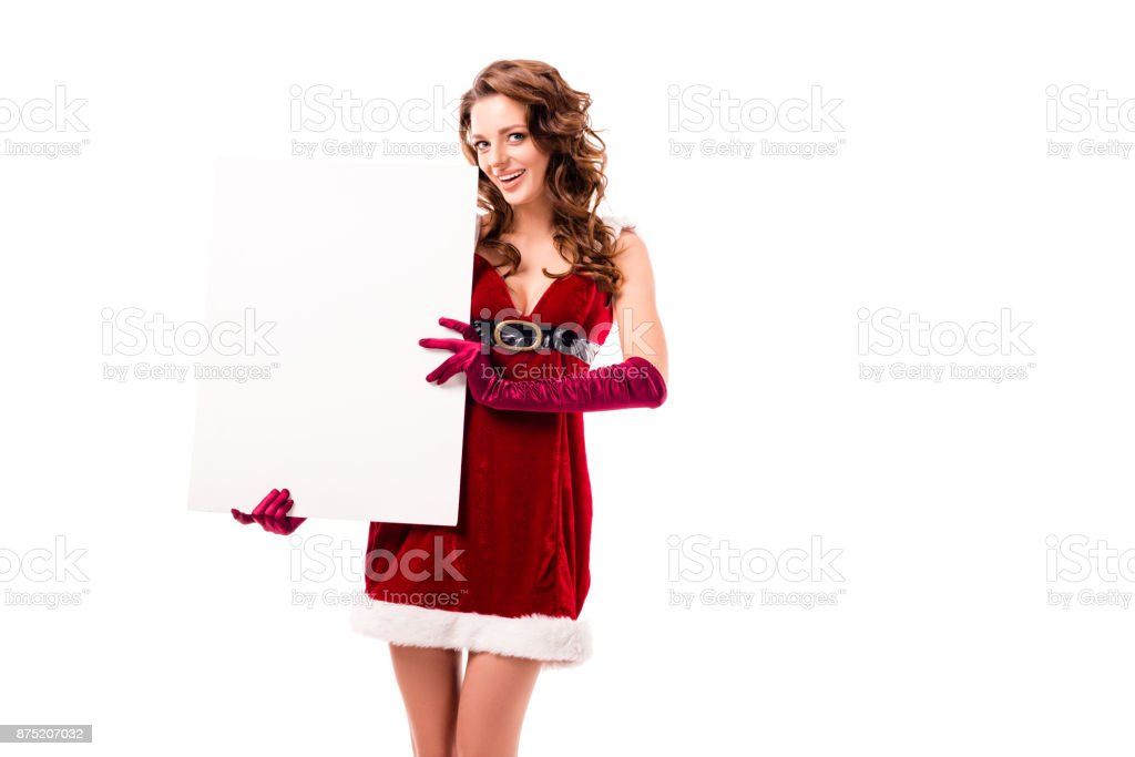santa girl with empty card stock photo