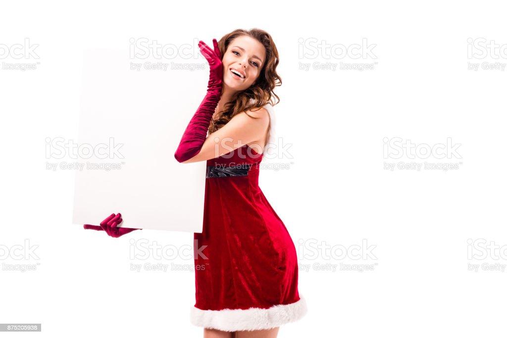 santa girl with empty placard stock photo