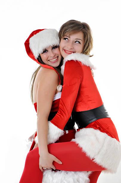 santa mädchen - elfenkostüm damen stock-fotos und bilder