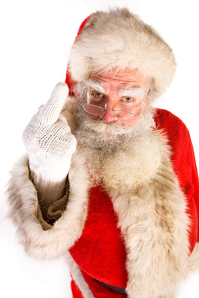 Santa gives the middle finger (on white) stock photo