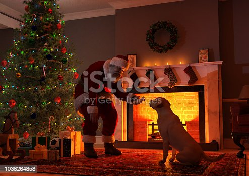 Digital image of Santa Claus offering a bone-shaped dog biscuit to a dog. The scene is set in front of fireplace, in a typical living room, with a Christmas tree and presents. Santa is leaning down to the dog, and the dog's face and Santa's outstretched hand are silhouetted by the bright interior of the fireplace.