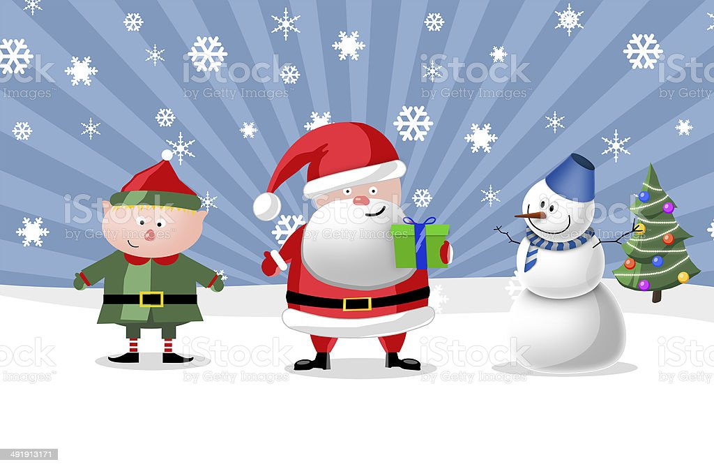 Santa, gnom and snow man, illustration royalty-free stock photo
