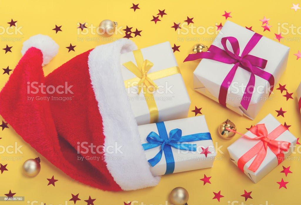 santa hat and gifts royalty-free stock photo