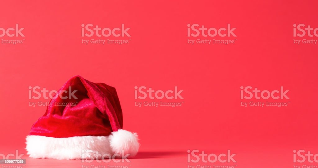 Santa hat on a bright background stock photo