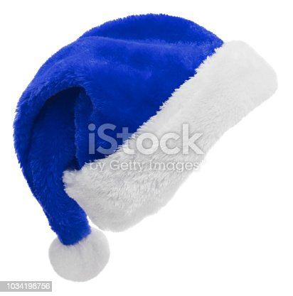 Blue Santa Hat isolated on a white background.