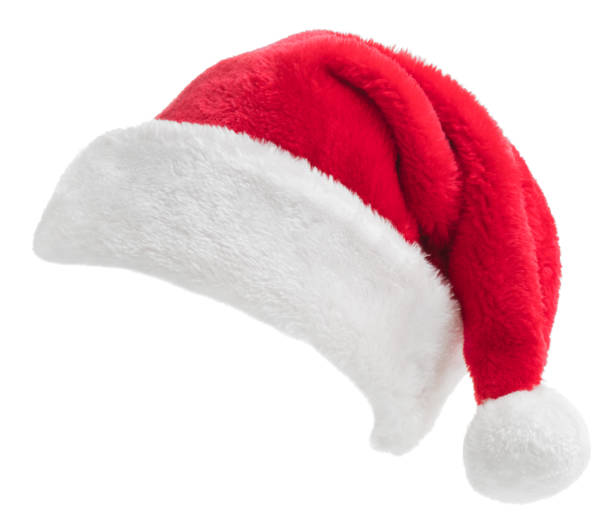 santa hat on white - santa hat stock pictures, royalty-free photos & images