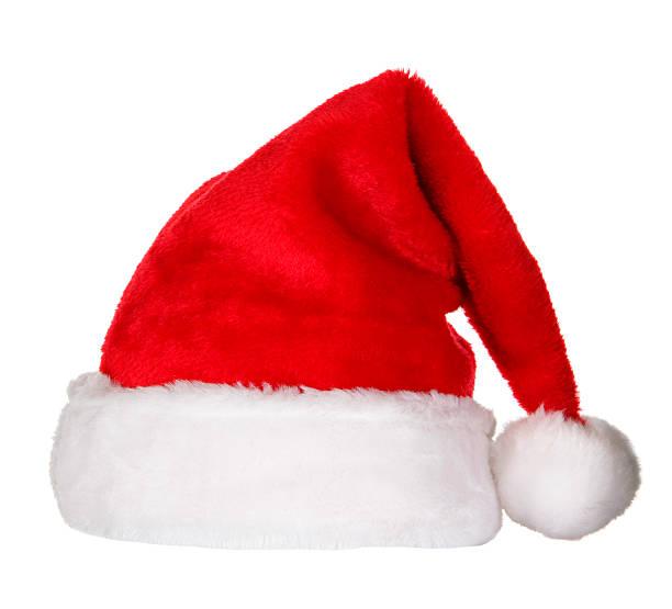 santa hat (clipping path (borde de corte - accesorio de cabeza fotografías e imágenes de stock