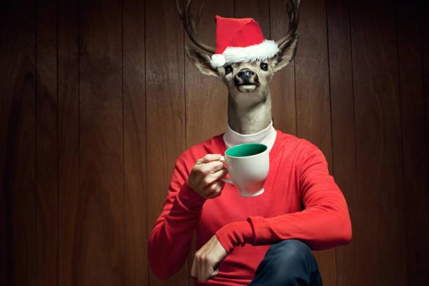 santa hat reindeer man - rendier stockfoto's en -beelden